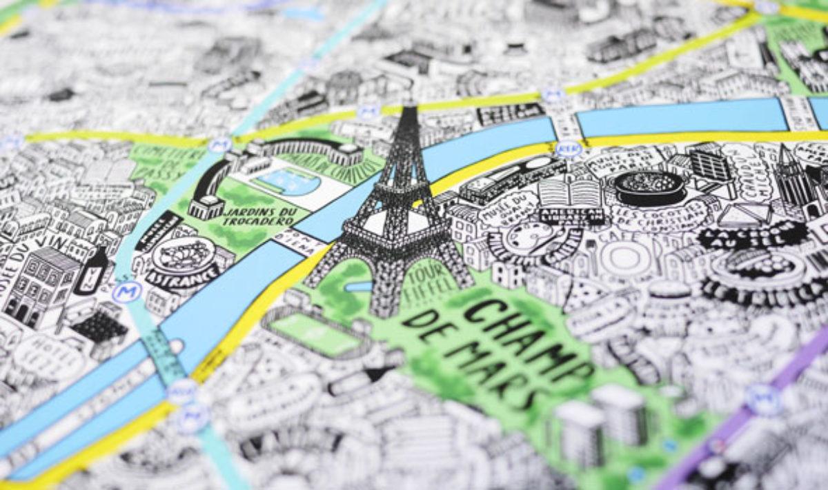 Cartina Di Parigi E Dintorni.La Mappa Di Parigi Disegnata Completamente A Mano Da Jenni Sparks