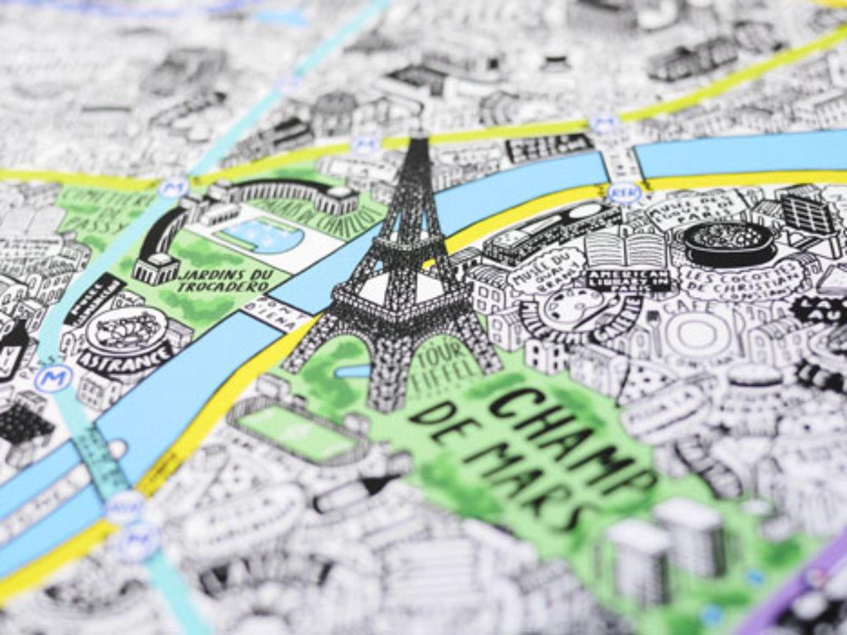 Cartina Citta Di Parigi.La Mappa Di Parigi Disegnata Completamente A Mano Da Jenni Sparks